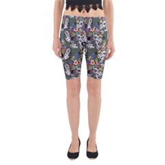 Vintage flowers and birds pattern Yoga Cropped Leggings