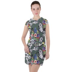 Vintage flowers and birds pattern Drawstring Hooded Dress