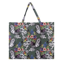 Vintage flowers and birds pattern Zipper Large Tote Bag