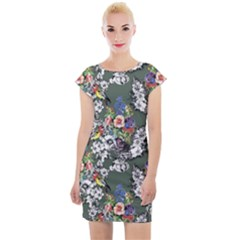 Vintage flowers and birds pattern Cap Sleeve Bodycon Dress