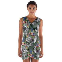 Vintage flowers and birds pattern Wrap Front Bodycon Dress