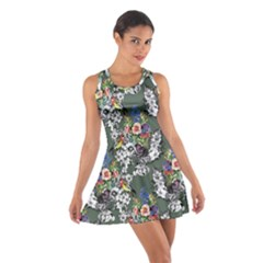 Vintage flowers and birds pattern Cotton Racerback Dress