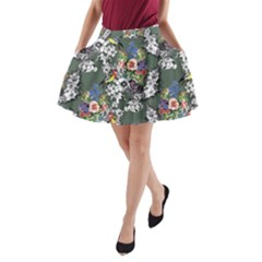 Vintage flowers and birds pattern A-Line Pocket Skirt