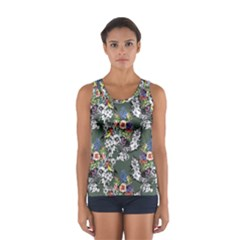 Vintage flowers and birds pattern Sport Tank Top