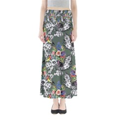 Vintage flowers and birds pattern Full Length Maxi Skirt