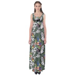 Vintage flowers and birds pattern Empire Waist Maxi Dress