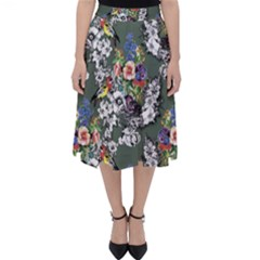 Vintage flowers and birds pattern Classic Midi Skirt