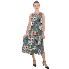 Vintage flowers and birds pattern Midi Tie-Back Chiffon Dress