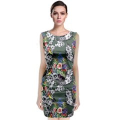Vintage flowers and birds pattern Classic Sleeveless Midi Dress
