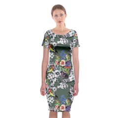 Vintage flowers and birds pattern Classic Short Sleeve Midi Dress