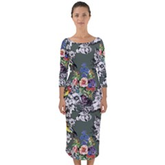 Vintage flowers and birds pattern Quarter Sleeve Midi Bodycon Dress