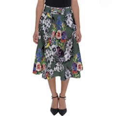 Vintage flowers and birds pattern Perfect Length Midi Skirt