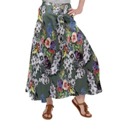 Vintage flowers and birds pattern Satin Palazzo Pants