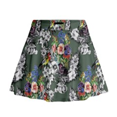 Vintage flowers and birds pattern Mini Flare Skirt