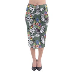 Vintage flowers and birds pattern Midi Pencil Skirt