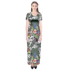 Vintage flowers and birds pattern Short Sleeve Maxi Dress
