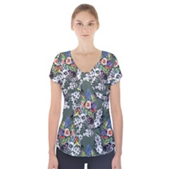 Vintage flowers and birds pattern Short Sleeve Front Detail Top