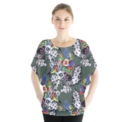 Vintage flowers and birds pattern Batwing Chiffon Blouse