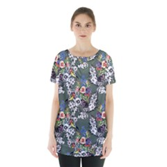 Vintage flowers and birds pattern Skirt Hem Sports Top