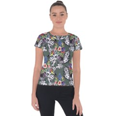 Vintage flowers and birds pattern Short Sleeve Sports Top