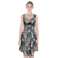 Vintage flowers and birds pattern Racerback Midi Dress