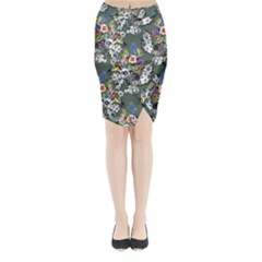 Vintage flowers and birds pattern Midi Wrap Pencil Skirt