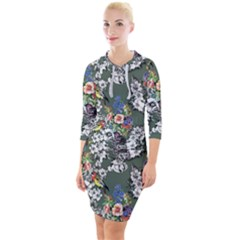 Vintage flowers and birds pattern Quarter Sleeve Hood Bodycon Dress