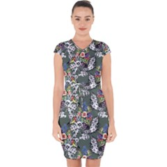 Vintage flowers and birds pattern Capsleeve Drawstring Dress