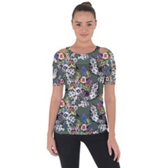 Vintage flowers and birds pattern Shoulder Cut Out Short Sleeve Top