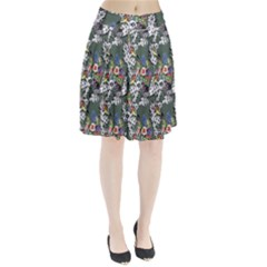 Vintage flowers and birds pattern Pleated Skirt