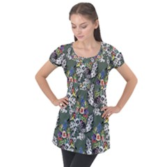 Vintage flowers and birds pattern Puff Sleeve Tunic Top