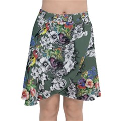 Vintage flowers and birds pattern Chiffon Wrap Front Skirt