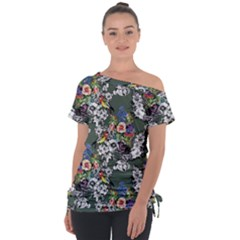 Vintage flowers and birds pattern Tie-Up Tee