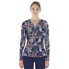 Vintage flowers and birds pattern V-Neck Long Sleeve Top