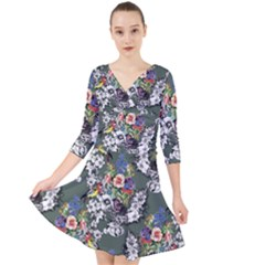 Vintage flowers and birds pattern Quarter Sleeve Front Wrap Dress
