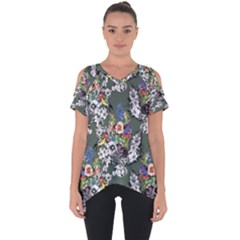 Vintage flowers and birds pattern Cut Out Side Drop Tee