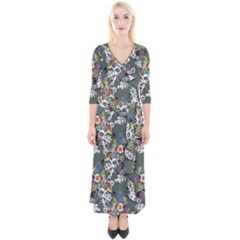 Vintage flowers and birds pattern Quarter Sleeve Wrap Maxi Dress