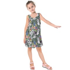 Vintage flowers and birds pattern Kids  Sleeveless Dress
