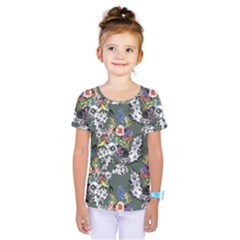 Vintage flowers and birds pattern Kids  One Piece Tee