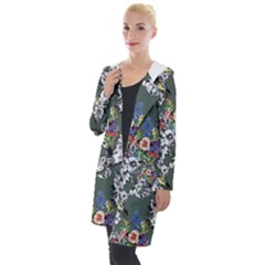 Vintage flowers and birds pattern Hooded Pocket Cardigan
