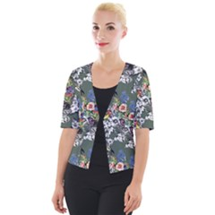Vintage flowers and birds pattern Cropped Button Cardigan