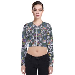 Vintage flowers and birds pattern Long Sleeve Zip Up Bomber Jacket
