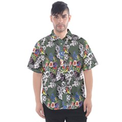 Vintage flowers and birds pattern Men s Short Sleeve Shirt