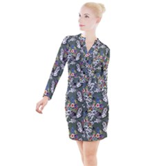 Vintage flowers and birds pattern Button Long Sleeve Dress