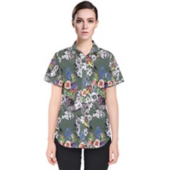 Vintage flowers and birds pattern Women s Short Sleeve Shirt