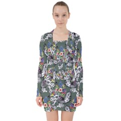 Vintage flowers and birds pattern V-neck Bodycon Long Sleeve Dress