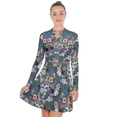Vintage flowers and birds pattern Long Sleeve Panel Dress