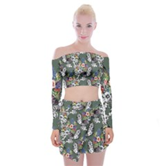 Vintage flowers and birds pattern Off Shoulder Top with Mini Skirt Set