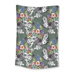 Vintage flowers and birds pattern Small Tapestry