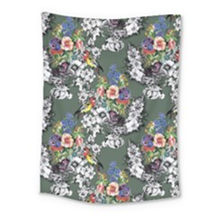 Vintage flowers and birds pattern Medium Tapestry